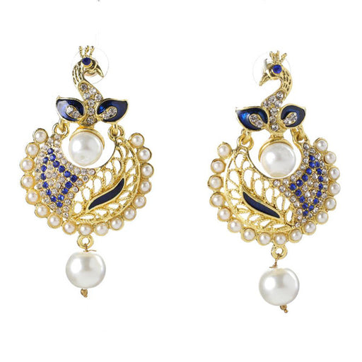 Kriaa Stone Gold Plated Meenakari Peacock Earrings