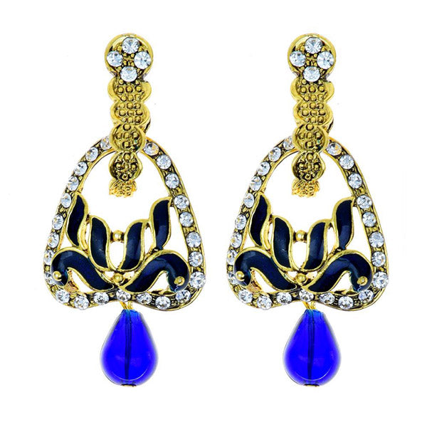 Kriaa Stone Meenakari Drop Gold Plated Dangler Peacock Earring