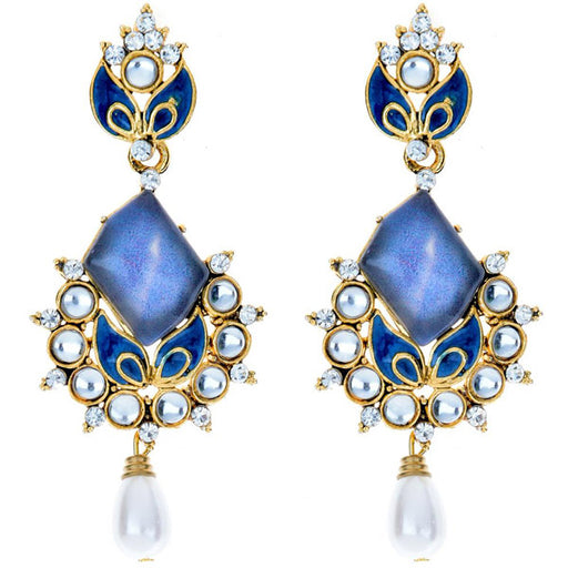 Kriaa Kundan Meenakari Pearl Drop Gold Plated Dangler Earring