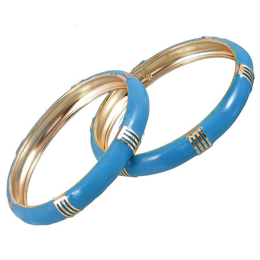Kriaa Blue Gold Plated Set of 2 Bangles