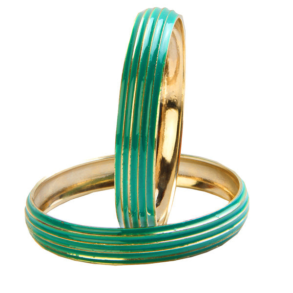 Kriaa Green Enamel Gold Plated Set of 2 Bangles