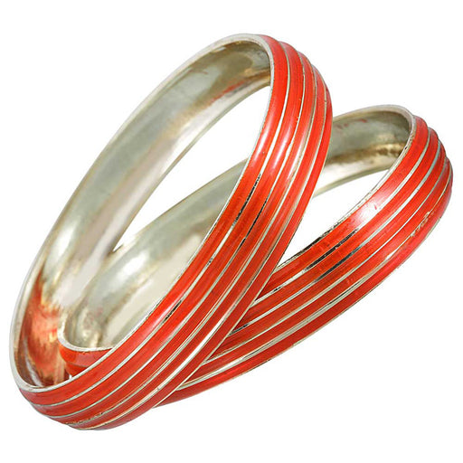 Kriaa Red Enamel Gold Plated Set of 2 Bangles