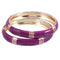 Kriaa Purple Enamel Gold Plated Set of 2 Bangles