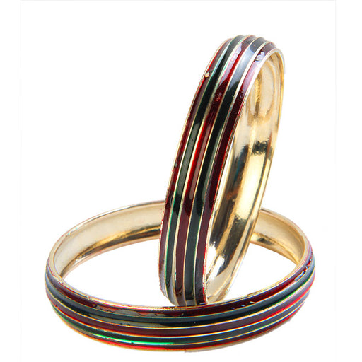 Kriaa Multicolor Enamel Gold Plated Set of 2 Bangles