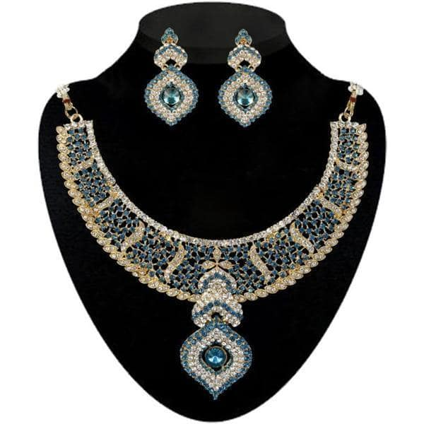 Kriaa Blue Austrian Stone Necklace Set