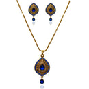 Kriaa Gold Plated Blue Austrian Stone Pendant Set