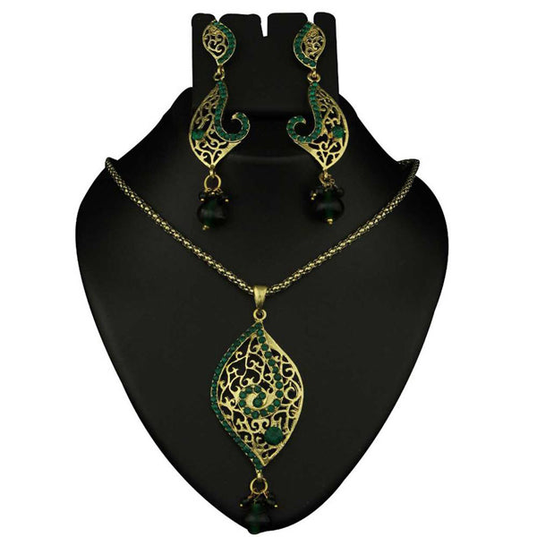 Kriaa Green Austrian Stone Gold Plated Pendants Set