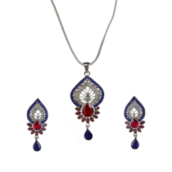 Kriaa Blue And Pink Austrian Stone Pendant Set