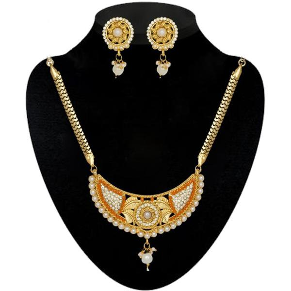 Kriaa Orange Austrian Stone And Pearl Necklace Set - 2101004 - H