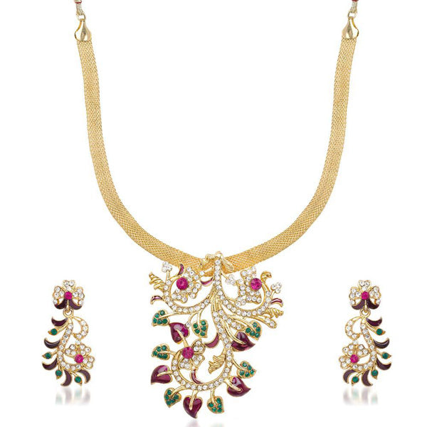 Kriaa Pink Stone Leaf Design Necklace Set