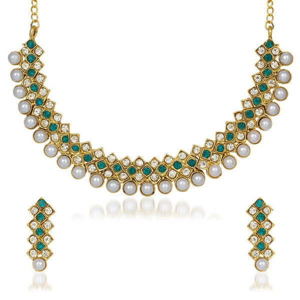Kriaa Green And White Stone And Pearl Necklace Set