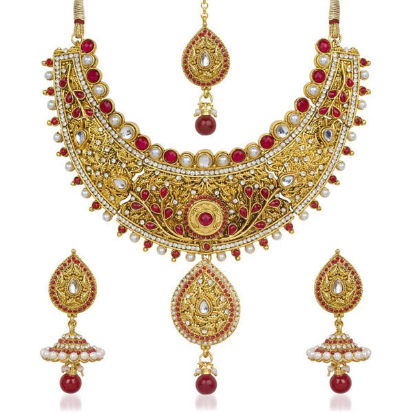 Kriaa Maroon Pota Stone Necklace Set With Maang Tikka
