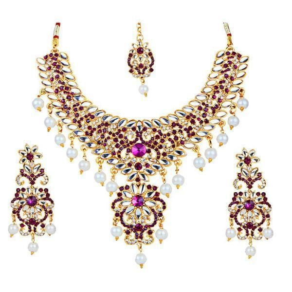 Kriaa Purple Stone Kundan Necklace Set With Maang Tikka