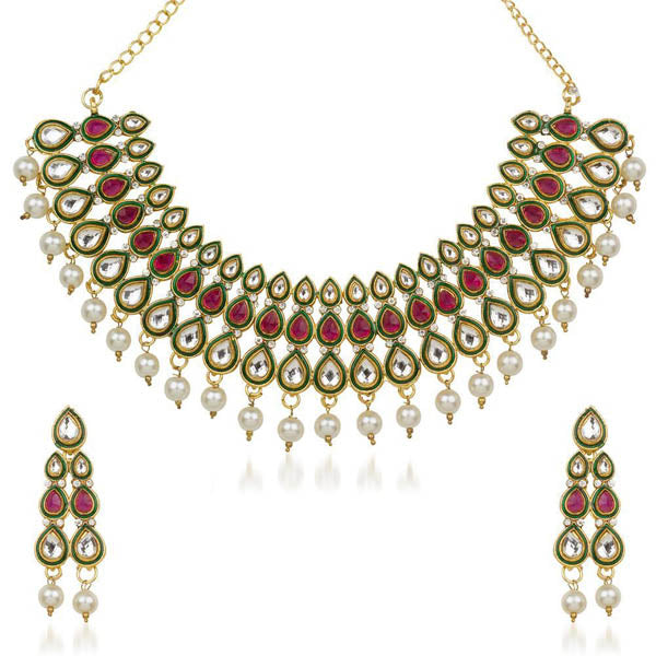 Kriaa Red Stone Kundan Necklace Set