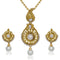 Kriaa Gold Plated White Pearl Pendant Set