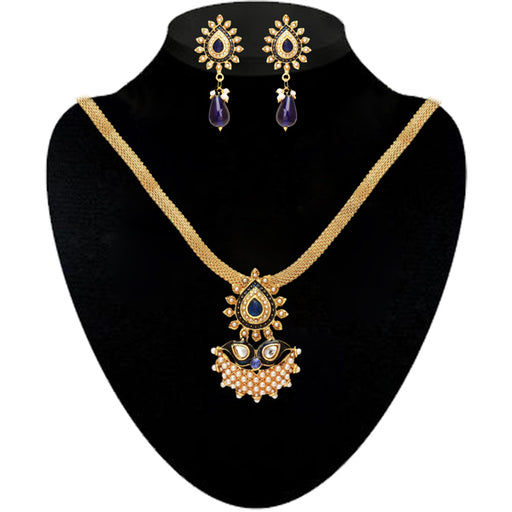 Kriaa Blue Meenakari And Pearl Necklace Set