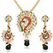 Kriaa Green Austrian Stone And Kundan Pendant Set