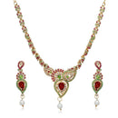 Kriaa Green And Pink Stone Necklace Set