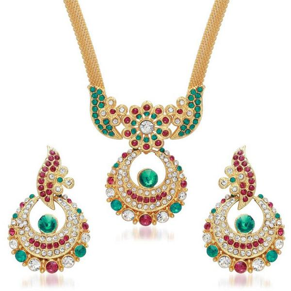 Kriaa Green And Pink Stone Necklace Set - 2102207 - ES