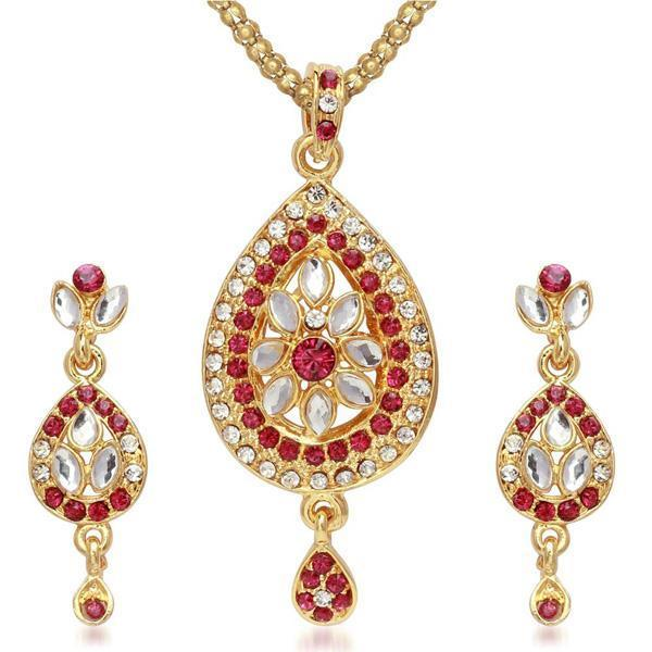 Kriaa Gold Plated Pink Austrian Stone Pendant Set