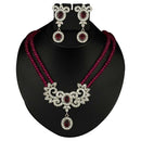 Kriaa Zinc Alloy Silver Plated Multicolor Stone Necklace Set