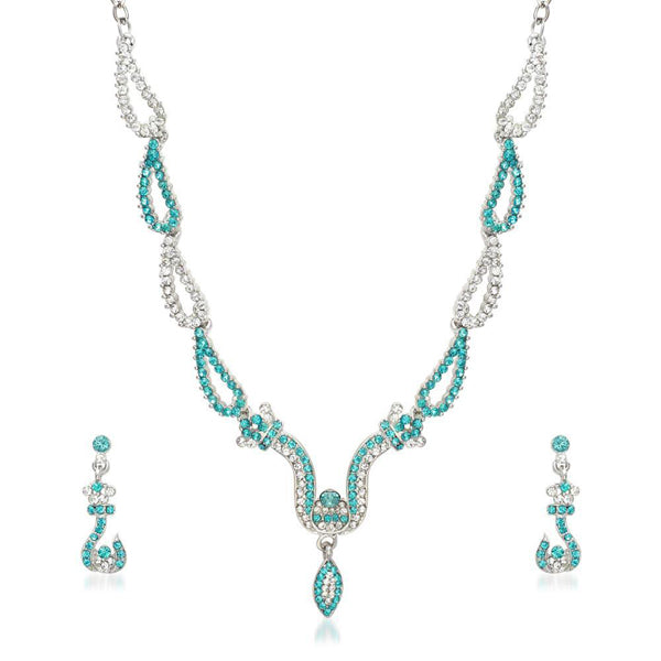 Kriaa Zinc Alloy Silver Plated Blue Stone Necklace Set