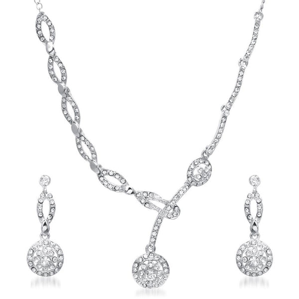 Kriaa Zinc Alloy Silver Plated White Stone Necklace Set