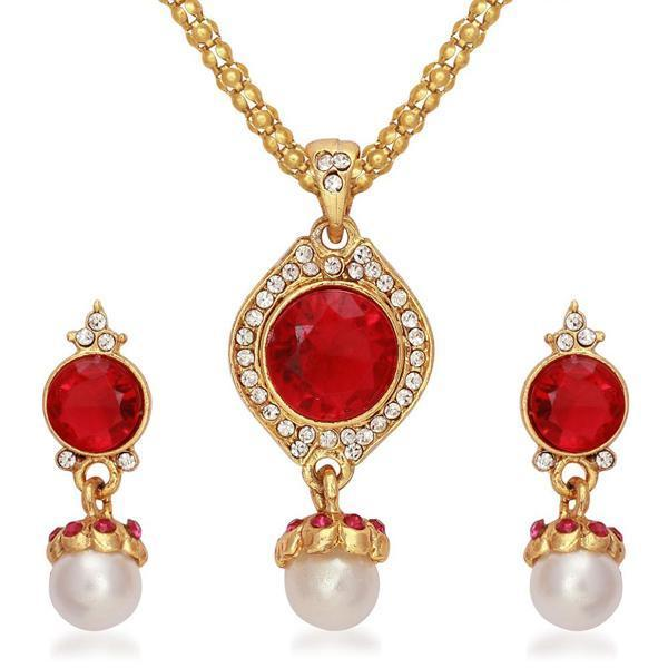 Kriaa Gold Plated Red Austrian Stone Pendant Set - 2103006