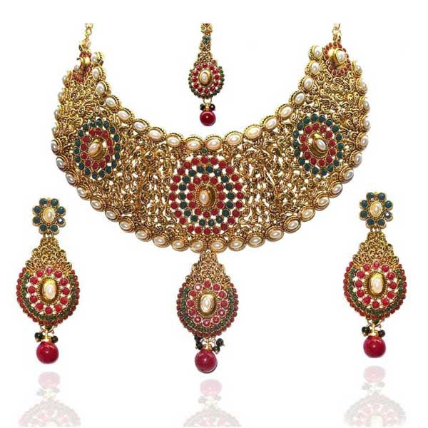 Kriaa Maroon Stone Pearl Necklace Set With Maang Tikka