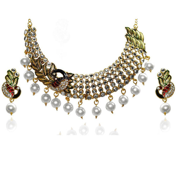 Kriaa Multicolor Stone Kundan Peacock Necklace Set