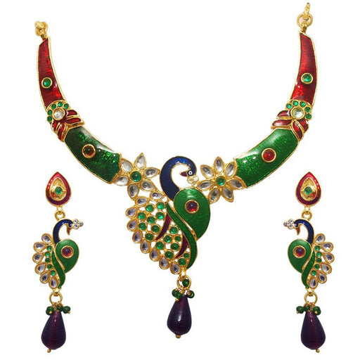 Kriaa Multicolor Meenakari Kundan Necklace Set
