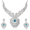 Kriaa Silver Plated Blue Stone Necklace Set