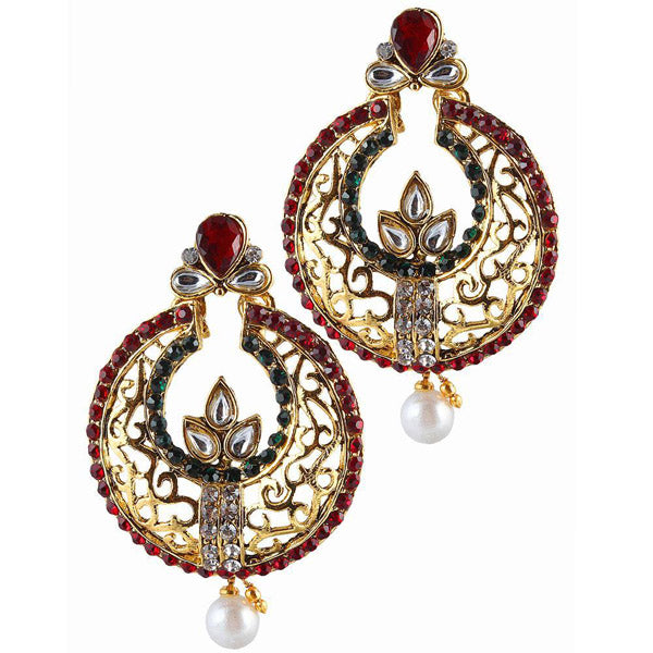 The99Jewel Maroon Austrian Stone Chandbali Earrings