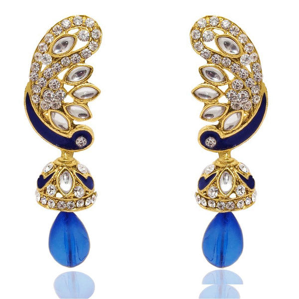 The99jewel Kundan Meenakari Austrian Stone Jhumki Earrings