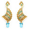 Kriaa Pearl Stone Gold Plated Dangler Earrings