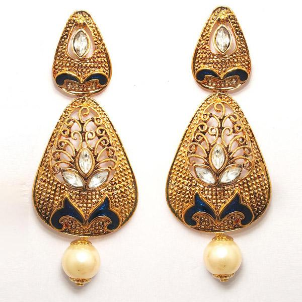Kriaa Zinc Alloy Gold Plated Crystal Dangler Earring