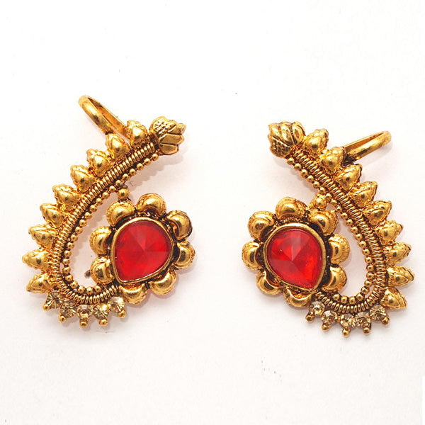 Kriaa Red Austrian Stone Gold Plated Ear Cuff