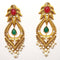 The99Jewel Maroon & Green Pota Stone Dangle Earrings