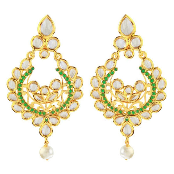 The99jewel Kundan Green Pota Stone Chandbali Earrings