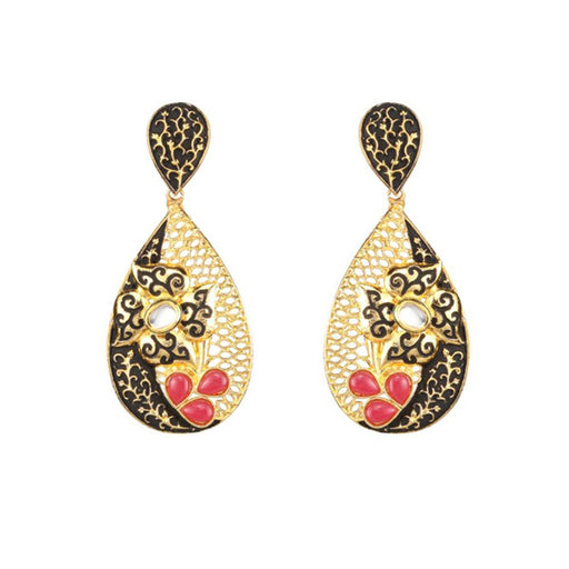 The99Jewel Maroon Pota Stone Kundan Dangle Earrings