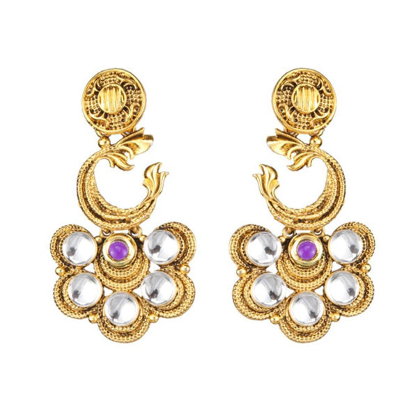 The99Jewel Gold Plated Purple Pota Stone Dangler Earrings