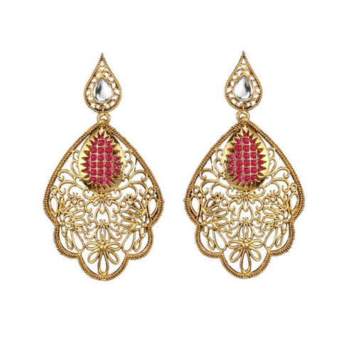 The99jewel  Gold Plated Maroon Stone Kundan Dangler Earrings