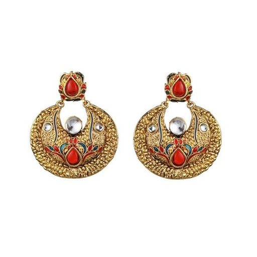 The99jewel Gold Plated Red Kundan Chandbali Earrings