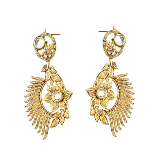 The99Jewel Kundan Gold Plated Floral Shaped Dangler Earrings