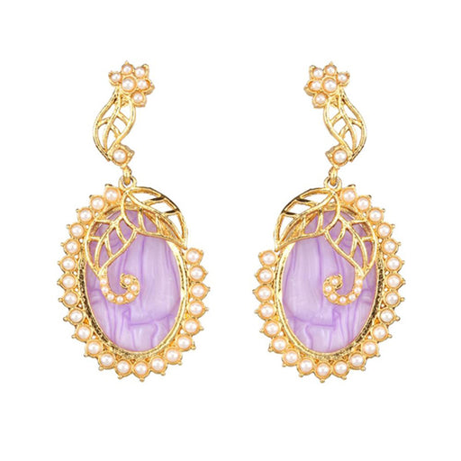 Kriaa Gold Plated Resin Pearl Dangler Earring