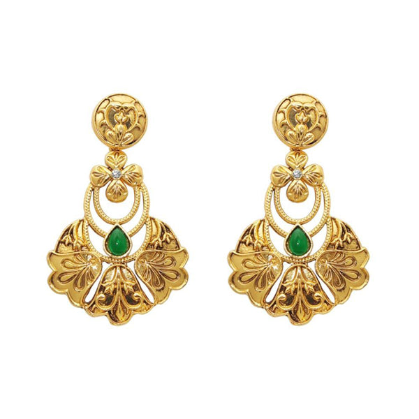The99Jewel Gold Plated Green Austrian Stone Dangle Earrings