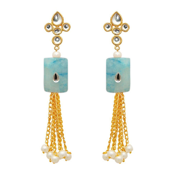 The99jewel  Gold Plated White Kundan Dangler Earrings