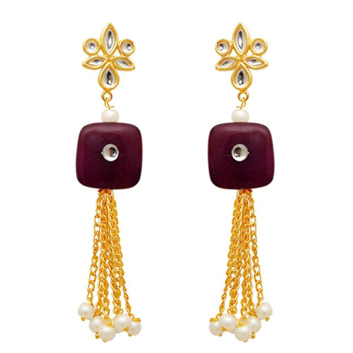Kriaa Zinc Alloy Gold Plated Kundan Dangler Earring