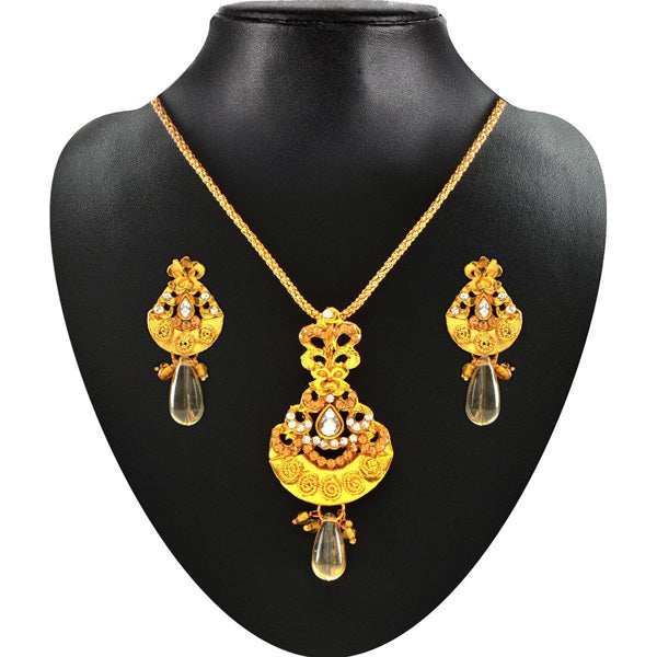 Kriaa Yellow Stone Gold Plated Pendant Set