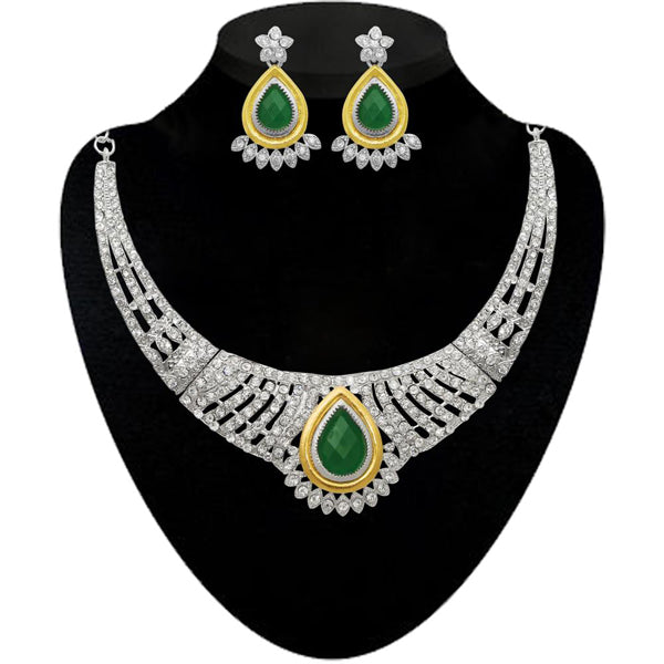Kriaa White And Green Stone Necklace Set